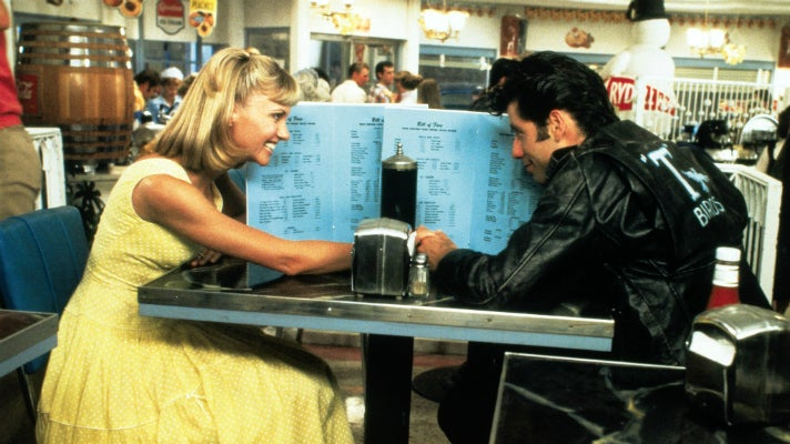 "Sandy and Danny at the Frosty Palace in ""Grease"""