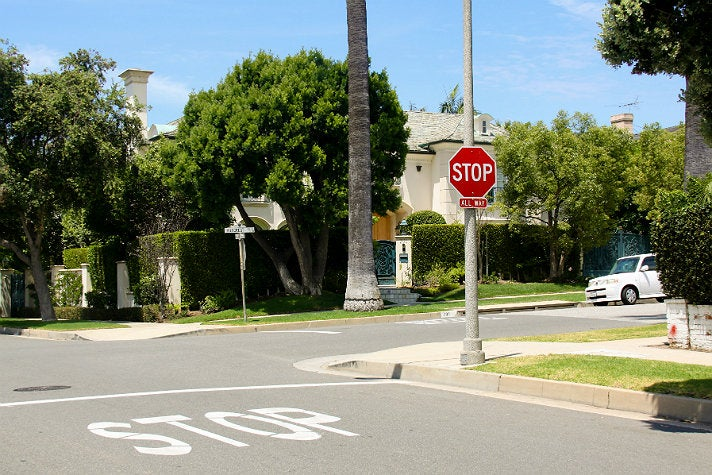 "Stop sign at 701 N. Hillcrest Rd. from ""Clueless"""