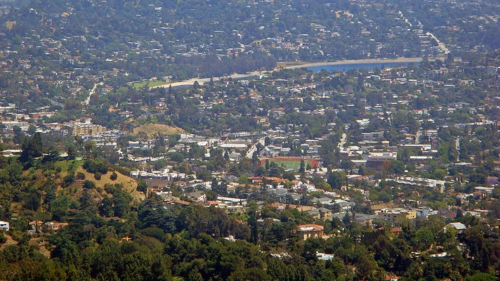 View of Silver Lake and surrounding neighborhoods from Mount Hollywood