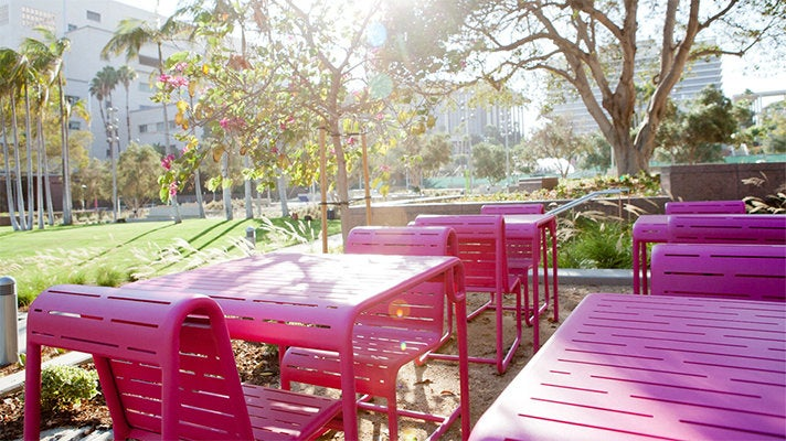 Grand Park pink benches